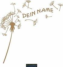 CLICKANDPRINT Aufkleber » Pusteblume mit Name, 40x39,6cm, Hellbraun • Dekoaufkleber / Autoaufkleber / Sticker / Decal / Vinyl