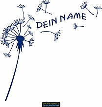 CLICKANDPRINT Aufkleber » Pusteblume mit Name, 40x39,6cm, Ultramarinblau • Dekoaufkleber / Autoaufkleber / Sticker / Decal / Vinyl
