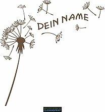 CLICKANDPRINT Aufkleber » Pusteblume mit Name, 70x69,4cm, Bronze Antik Metallic • Dekoaufkleber / Autoaufkleber / Sticker / Decal / Vinyl