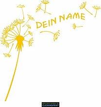 CLICKANDPRINT Aufkleber » Pusteblume mit Name, 80x79,3cm, Gelb Reflektierend • Dekoaufkleber / Autoaufkleber / Sticker / Decal / Vinyl