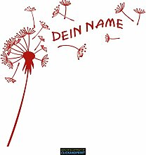 CLICKANDPRINT Aufkleber » Pusteblume mit Name, 90x89,2cm, Rot Reflektierend • Dekoaufkleber / Autoaufkleber / Sticker / Decal / Vinyl