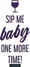 CLICKANDPRINT Aufkleber » Sip me baby one more time, 140x66,6cm, Violett Metallic • Dekoaufkleber / Autoaufkleber / Sticker / Decal / Vinyl