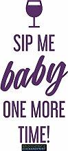 CLICKANDPRINT Aufkleber » Sip me baby one more time, 150x71,4cm, Violett • Dekoaufkleber / Autoaufkleber / Sticker / Decal / Vinyl