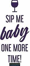 CLICKANDPRINT Aufkleber » Sip me baby one more time, 170x80,9cm, Violett Metallic • Dekoaufkleber / Autoaufkleber / Sticker / Decal / Vinyl