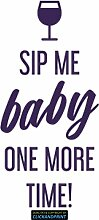 CLICKANDPRINT Aufkleber » Sip me baby one more time, 190x90,4cm, Violett Metallic • Dekoaufkleber / Autoaufkleber / Sticker / Decal / Vinyl