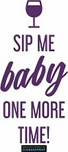 CLICKANDPRINT Aufkleber » Sip me baby one more time, 270x37,9cm, Violett • Dekoaufkleber / Autoaufkleber / Sticker / Decal / Vinyl