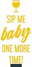 CLICKANDPRINT Aufkleber » Sip me baby one more time, 50x23,8cm, Gelb • Dekoaufkleber / Autoaufkleber / Sticker / Decal / Vinyl