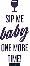 CLICKANDPRINT Aufkleber » Sip me baby one more time, 50x23,8cm, Violett Metallic • Dekoaufkleber / Autoaufkleber / Sticker / Decal / Vinyl
