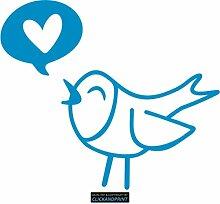CLICKANDPRINT  Aufkleber » Vogel mit Herz,