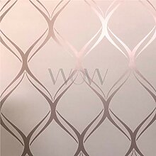 Clifton Wave Tapete, geometrisch, Pink/Roségold,