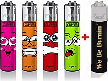 Clipper Feuerzeug Classic Large - Faces 4er Set +