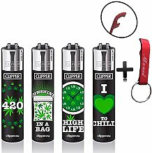 Clipper Green Leaves Original Lighter Flints 4 Set