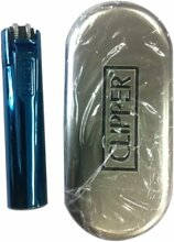 Clipper Metall Flint Feuerzeug in ICY blau Farbe
