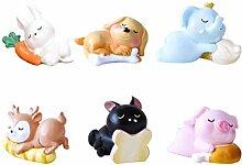 CLISPEED 6 Stücke Elch Katze Schwein Hase Figur