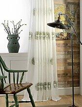 CLL/(Zwei) Modern Sonnenblume bestickt Leinen Baumwoll-Mischgewebe Sheer Vorhang double pleated-blue