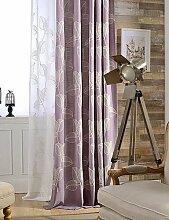CLL/(Zwei) Moderne Blatt Bestickt Leinen/Baumwolle-Mischgewebe Vorhang (Sheer nicht im Lieferumfang enthalten) double pleated-purple
