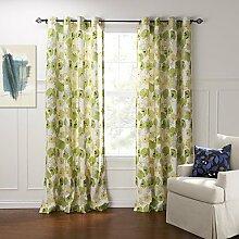 CLL/ zwei Panele Grün Blumen / Pflanzen Baumwolle Panel , Grommet Top-2* , Grommet Top-2*