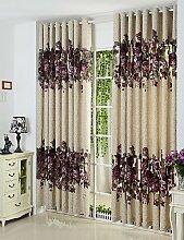 CLL/Zwei scheibenelementen violett Floral Botanical Polyester Panel Vorhänge rod pocket-2*