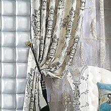 CLL/ (Zwei Tafeln) michelle luxury® Fauxseide Jacquard Blumen traditionellen Energiesparvorhang , No-Grommet Top