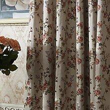 CLL/ (Zwei Tafeln) michelle luxury® Land Blumenzweige Energiesparvorhang , Yes - Beige Lining-Rod Pocke