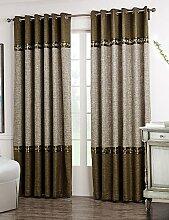 CLL/ (Zwei Tafeln) neoklassischen braune und graue feste Blütenspitze Raumverdunklungsvorhang , yes - beige lining-grommet top