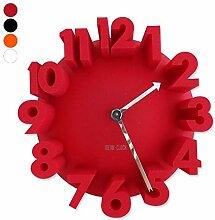 Clock große geprägten Figuren 3D Schwarz