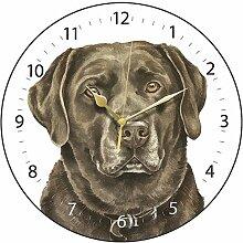 Clocks Wanduhr, Labrador, Schokoladenbraun, in