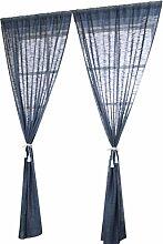 Clode® 1PC 140cmx240cm Elegante Tür Fenster Vorhang Drape Panel Sheer Natürliche Leinen Streifenmuster (Blau)