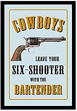 Close Up Cowboys Leave Your Sixshooter Revolver