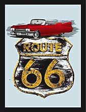 Close Up Route 66 Spiegel Cadillac (22cm x 32cm)