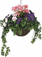 closer2nature Künstliche Geranie Violett Stiefmütterchen, Pink Azalea und Display in 35,6cm rund Weiden Blumenampel