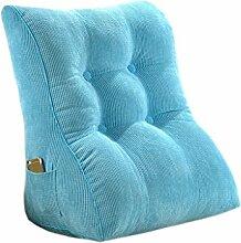 CLOTHES- Bedside Big Backrest Triangle Sofa Kissen Bett Soft Office Taille Kissen Abnehmbare waschbar schützen den Hals schützen die Taille Rücken Kissen Rückenkissen ( Farbe : Blauer himmel )