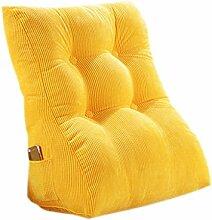 CLOTHES- Bedside Big Backrest Triangle Sofa Kissen Bett Soft Office Taille Kissen Abnehmbare waschbar schützen den Hals schützen die Taille Rücken Kissen Rückenkissen ( Farbe : Gelb )