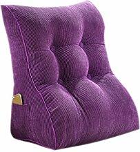 CLOTHES- Bedside Big Backrest Triangle Sofa Kissen Bett Soft Office Taille Kissen Abnehmbare waschbar schützen den Hals schützen die Taille Rücken Kissen Rückenkissen ( Farbe : Lila )