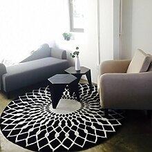 CLOTHES UK- Kreativer runder Wohnzimmer-Teppich-Art- und Weiseausgangsschwarzweiss-kreisförmige Teppich-Nachttisch-Decken-Teppich-Schlafzimmer-Wolldecke Teppich ( Farbe : Schwarz , größe : 160x160cm )