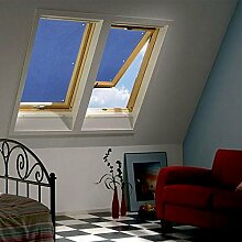 Clothink 76x93cm Thermo Sonnenschutz für Dachfenster | Hitzeschutz für Innen | ohne bohren ohne kleben mit 6 stabil Saugnäpfe | große Auswahl für Velux + Roto Fenster | 1Stück dunkelblau