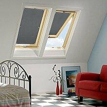 Clothink 76x93cm Thermo Sonnenschutz für Dachfenster | Hitzeschutz für Innen | ohne bohren ohne kleben mit 6 stabil Saugnäpfe | große Auswahl für Velux + Roto Fenster | 1Stück dunkelgrau