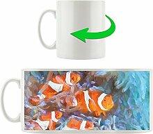 Clownsfische, Motivtasse aus weißem Keramik 300ml, Tolle Geschenkidee zu jedem Anlass. Ihr neuer Lieblingsbecher für Kaffe, Tee und Heißgetränke.