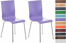 CLP 2er Set Wartezimmerstuhl PEPE | Ergonomisch geformte pflegeleichte Besucherstühle mit Holzsitz | Robuste Stühle mit stabilem Metallgestell in Chrom-Optik | Stuhl-Set mit 2 Stühlen | Sitzhöhe 45 cm | In verschiedenen Farben erhältich Lila