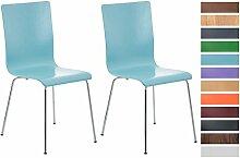 CLP 2er Set Wartezimmerstuhl PEPE | Ergonomisch geformte pflegeleichte Besucherstühle mit Holzsitz | Robuste Stühle mit stabilem Metallgestell in Chrom-Optik | Stuhl-Set mit 2 Stühlen | Sitzhöhe 45 cm | In verschiedenen Farben erhältich Hellblau