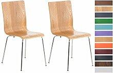 CLP 2er Set Wartezimmerstuhl PEPE | Ergonomisch geformte pflegeleichte Besucherstühle mit Holzsitz | Robuste Stühle mit stabilem Metallgestell in Chrom-Optik | Stuhl-Set mit 2 Stühlen | Sitzhöhe 45 cm | In verschiedenen Farben erhältich Eiche