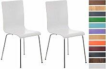 CLP 2er Set Wartezimmerstuhl PEPE | Ergonomisch geformte pflegeleichte Besucherstühle mit Holzsitz | Robuste Stühle mit stabilem Metallgestell in Chrom-Optik | Stuhl-Set mit 2 Stühlen | Sitzhöhe 45 cm | In verschiedenen Farben erhältich Weiß
