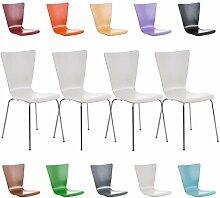 CLP 4 x Stapel-Stuhl AARON, Holzsitz, ergonomisch geformter Sitzfläche, FARBWAHL Weiß