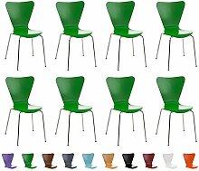 CLP 8x Stapelstuhl CALISTO, Holzsitz, ergonomisch geformt, Besucher-Stuhl stapelbar Grün