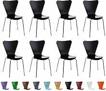 CLP 8x Stapelstuhl CALISTO, Holzsitz, ergonomisch geformt, Besucher-Stuhl stapelbar Schwarz