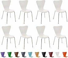 CLP 8x Stapelstuhl CALISTO, Holzsitz, ergonomisch geformt, Besucher-Stuhl stapelbar Weiß