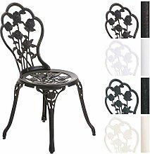 CLP Aluminium Bistro-Stuhl, Gartenstuhl GANESHA, witterungsbeständig, Alu-Guss, antik, passt zum Jugendstil Bronze
