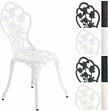CLP Aluminium Bistro-Stuhl, Gartenstuhl GANESHA, witterungsbeständig, Alu-Guss, antik, passt zum Jugendstil Weiß