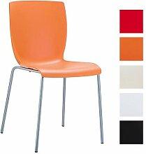 CLP Aluminium Garten-Stuhl MIO, Kunststoff Sitz, XXL 160 kg max. Belastbarkeit, Balkonstuhl Bistrostuhl stapelbar Orange