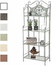 CLP ANIKA stabiles Standregal im Landhausstil   Klappbares robustes Eisenregal mit 4 Regalböden   In verschiedenen Farben erhältlich Antik Grün